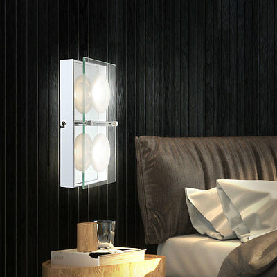 wand leuchte glas chrom acryl kristall flur lampe spiegel. Black Bedroom Furniture Sets. Home Design Ideas