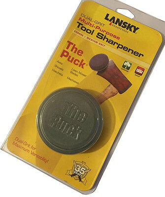 Lansky The Puck Blade Sharpener Dual Grit Grinding Stone Axe Machete Mower Tool