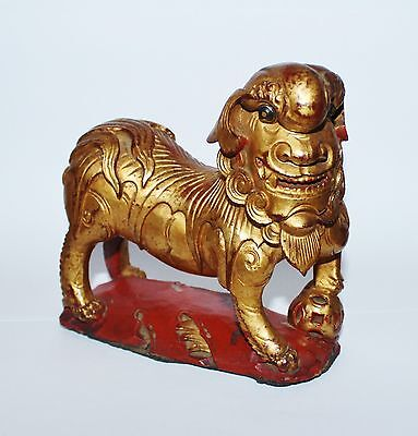 Antique Chinese Hand Carved Wood Red Gold Shishi 石獅 Gaurdian Lion Foo Dog Qing D