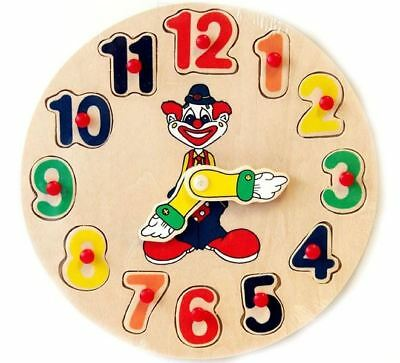 Wooden Clock Clown Puzzle Educational Toy Sorter Sorting Toy Birthday christmas