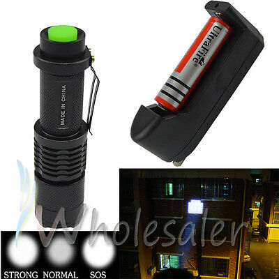 Zoomable CREE XML Q5 LED Flashlight Focus Torch Zoom Lamp Light+18650+ charger