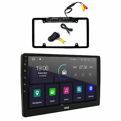 """Black Back Up Waterproof Camera, Pyle 7""""Bluetooth USB GPS Touch AUX Car Receiver"""