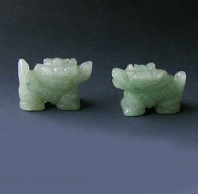 WILD ! 2 Aventurine Hand Carved WINGED DRAGON Beads 009286AV