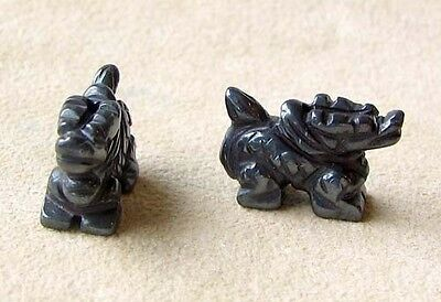 WILD ! 2 HEMATITE Hand Carved WINGED DRAGON Beads 009286HM