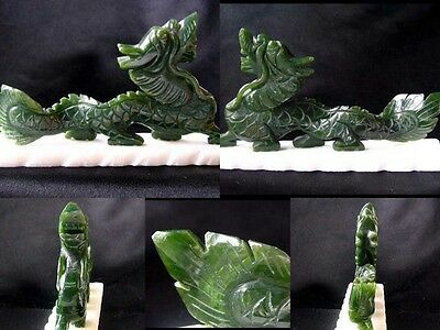 RARE! STYLIZED Hand Carved Nephrite JADE DRAGON Statue! 8163