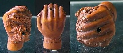HAND of BUDDHA w/ DRAGON Carved BOXWOOD Bead 4128CU