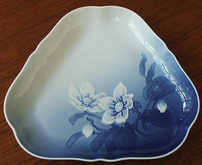 Bing & Grondahl Blue & White Christmas Rose Dish - Royal Copenhagen Denmark