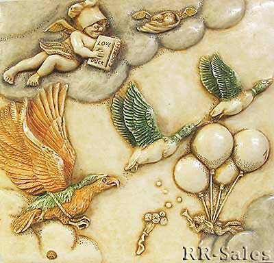 Cherub Angel & Ducks New Tile Harmony Kingdom Noahs Park Picturesque Sky Master
