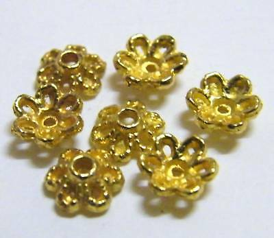 100pcs 6x2mm Metal Alloy Spacer Bead Caps - Gold