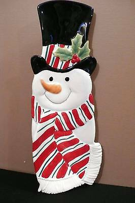 2007 FITZ AND FLOYD Snack Therapy Holiday Home SNOWMAN SERVER TRAY IOB