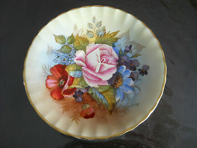 Aynsley Signed J.A. Bailey Floral Gold Saucer Only 804