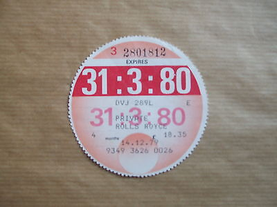 Vintage  Tax   Disc , March  1980, For  Rolls  Royce.