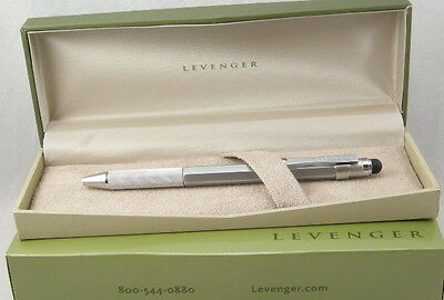 Levenger L-Tech Silver Ballpoint Pen w/Stylus - New In Box