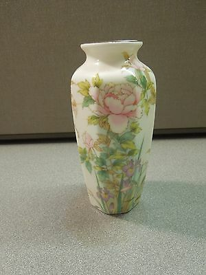 """VINTAGE SHIBATA PAINTED PORCELAIN CHINESE VASE PEONY & BUTTERFLIES 6"""" TALL GOLD"""
