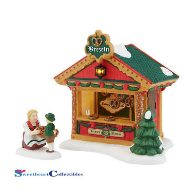 Dept 56 Alpine Village 4042389 Christmas Pretzel Booth Set/ 2 New