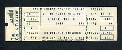 1981 Cher Unused Full Concert Ticket Take Me Home Tour Gypsys Tramps & Thieves