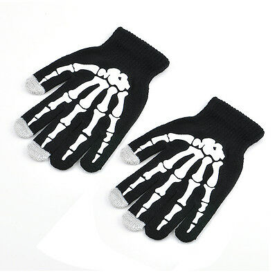 soft Skeleton phone Tablet touch screen Gloves Bones Hands Skull Mitten Adult
