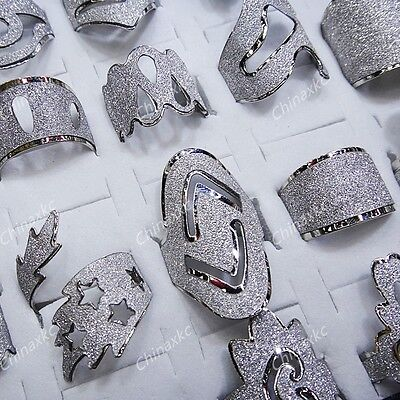 Freeshipping 10pcs Mix style silver frosted fashion Rings wholesale jewelry lots