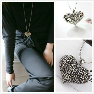 women Carved Heart Flower Long Chain Silver Tone Pendant Necklace gift