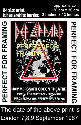 Def Leppard Hammersmith Odeon London 7 8 9 September  1987  A4 size poster print