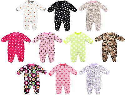 Baby Boys Girls Sleepsuit Fleece All In One 0-9 Months Free P&p Bnwt
