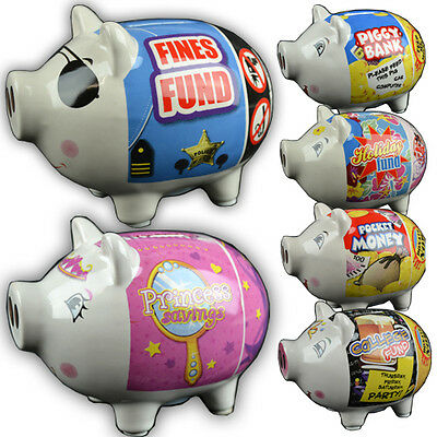 Ceramic Pig Piggy Bank Coins Money Box Safe Savings Cash Novelty Funds New