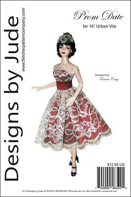 """Prom Date Doll Clothes Sewing Pattern for 16"""" Urban Vita Dolls Horsman"""