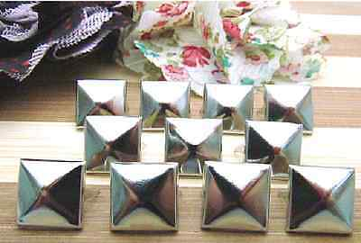 8mm 100PCS Pyramid Studs Rivets Spots Nickel Punk Bag Belt Leathercraft Silver