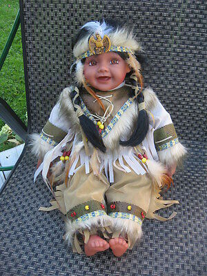 """#2 INDIAN DOLL iden keepsakes  FACE & HANDS &  FOOTS body stuff 20"""" inches tall"""