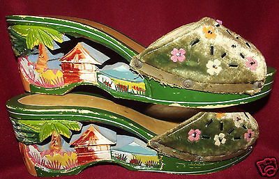 Japanese Pagoda Hand Carved Wood Shoes Sandals World War Two 1940s Souvenir
