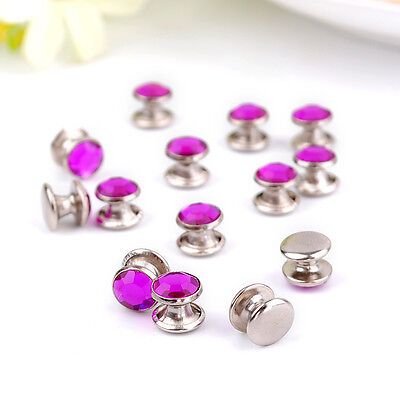 DIY 8mm Diamante Rivets for Leather Craft - PURPLE Acrylic colours ZD33
