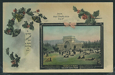 CA San Francisco H/C ROTOGRAVURE 10s CHRISTMAS GREETINGS Golden Gate by Behrendt