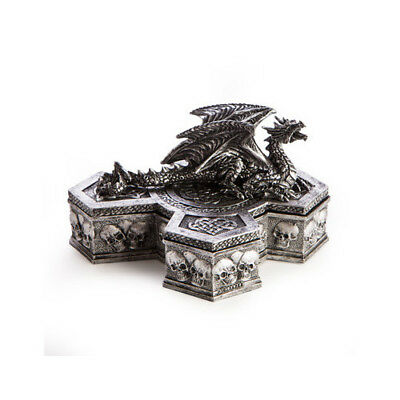 Mystical Style Dragon on Cross Trinket Box Sculpture Gift Model Statue Jewellery
