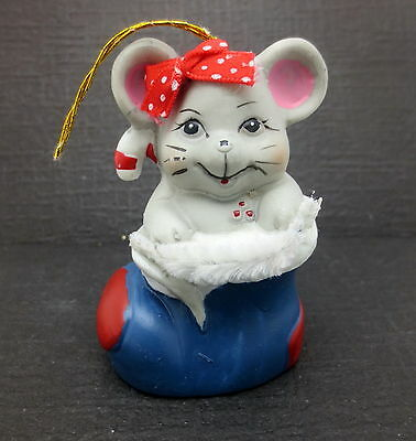 Vtg Painted Porcelain Mouse in Blue Boot Christmas Bell Ornament Giftco