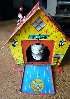 Vintage 1960s Swiss FIDO'S MUSICAL DOG HOUSE Tin Toy Jack-in-the-Music-Box type