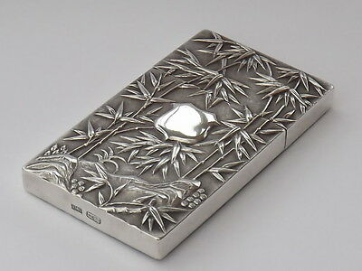 RARE ANTIQUE KWONG MAN SHING CHINESE EXPORT SOLID SILVER CARD CASE - c1900