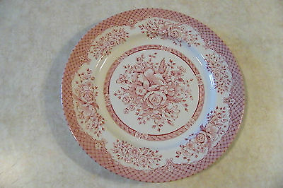 """Wood & Sons RED ROSES Dinner Plate 10"""" MADE IN ENGLAND"""