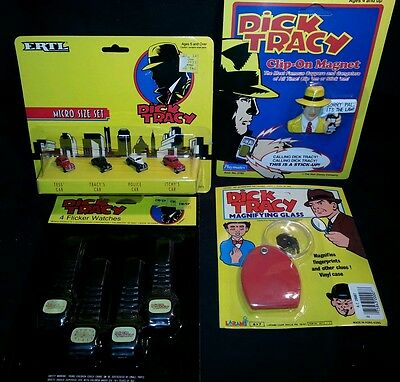 DICK TRACY toy Collection cars Watches mib vtg old Comic NOS SEALED lot movie