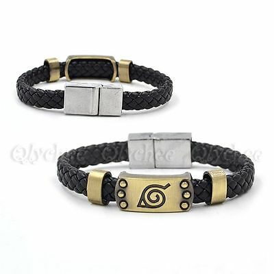Anime Naruto Leaf Mark Cosplay Leather Bracelet Black Wrist Punk Bracelet Bangle