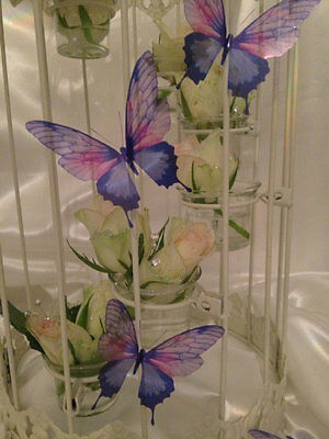 8 Sparkling 3D Lilac & Pink Butterflies Wedding Table Candle Home Accessories