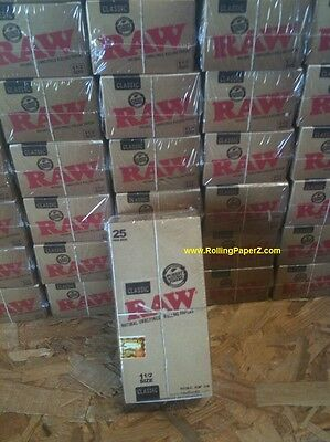 FULL BOX OF 25 PACKS - RAW CLASSIC ROLLING PAPERS 1 1/2 SIZE 33 LEAVES per pack