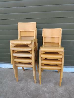 4 Available Vintage Reclaimed Stacking Chairs - Kitchen Dining Church Chair