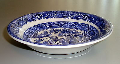 """1929-1942 ALLERTON'S England FLOW BLUE WILLOW 6-1/8"""" Coupe Cereal Bowl"""