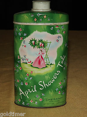 Vintage Old Tin April Showers Talc Cheramy Ny Can