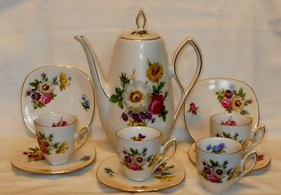 Mitterteich Chocolate Pot With 4 Demitasse Cups & Saucers Meissen Floral Germany