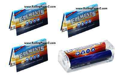 3X PACKS SINGLE WIDE ELEMENTS Ultra Thin Rice Rolling Papers + FREE 70mm ROLLER