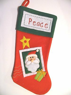 RED & GREEN FLEECE SANTA PEACE CHRISTMAS STOCKING MANTLE DECORATION
