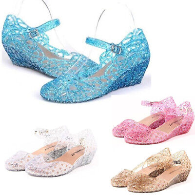 513fa7f81 Elsa Princess Queen Fancy Dress Cosplay Party Kids Girl Crystal Blue Jelly  Shoes