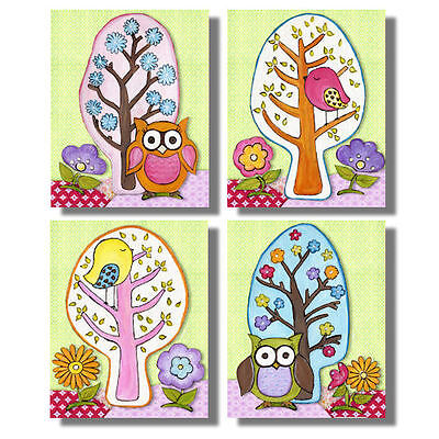 Poppy Love birds and owls set/4 prints girls room nursery bedding wall art decor