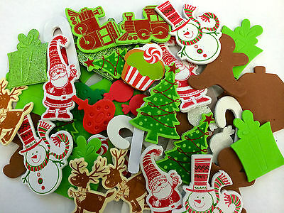 50 Christmas Self Adhesive Foam Shapes Stickers Teacher Supply Gingerbread Santa